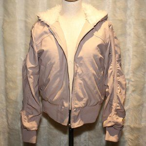 Pink Platinum Faux Leather Jacket with hoodie